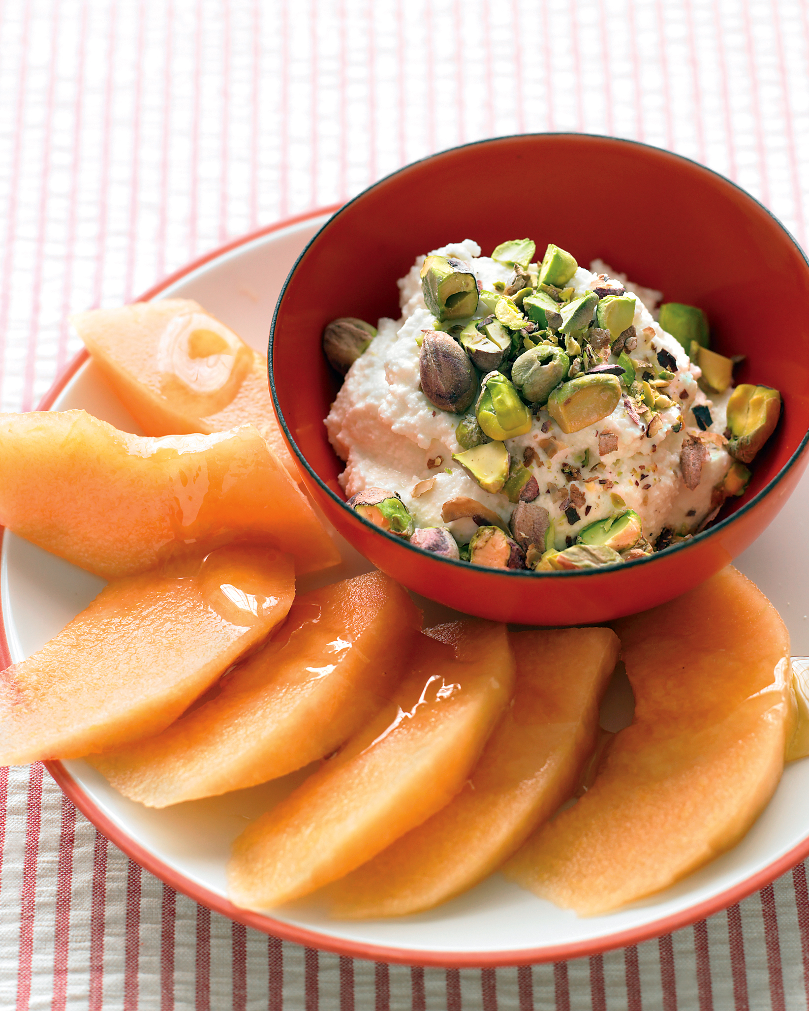Cantaloupe with Ricotta and Pistachios