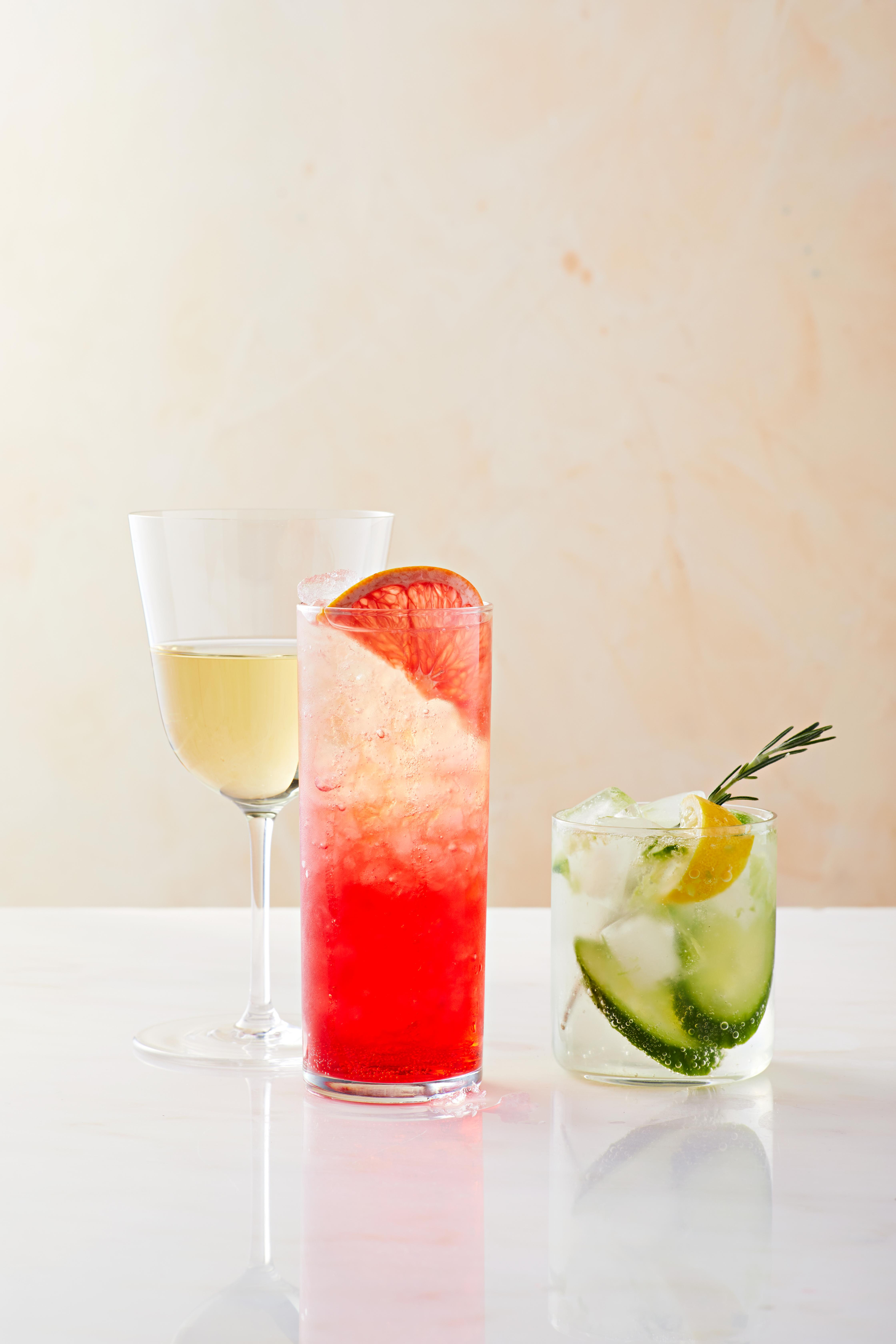 three mocktails cucumber grapefruit