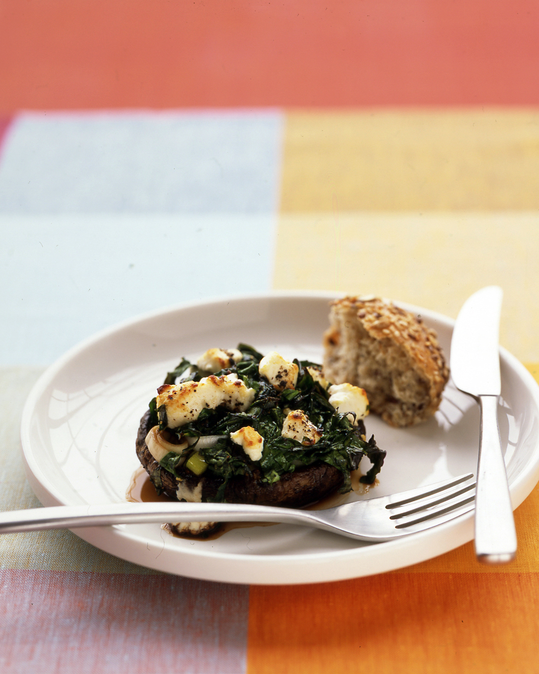 Portobellos with Leeks and Spinach