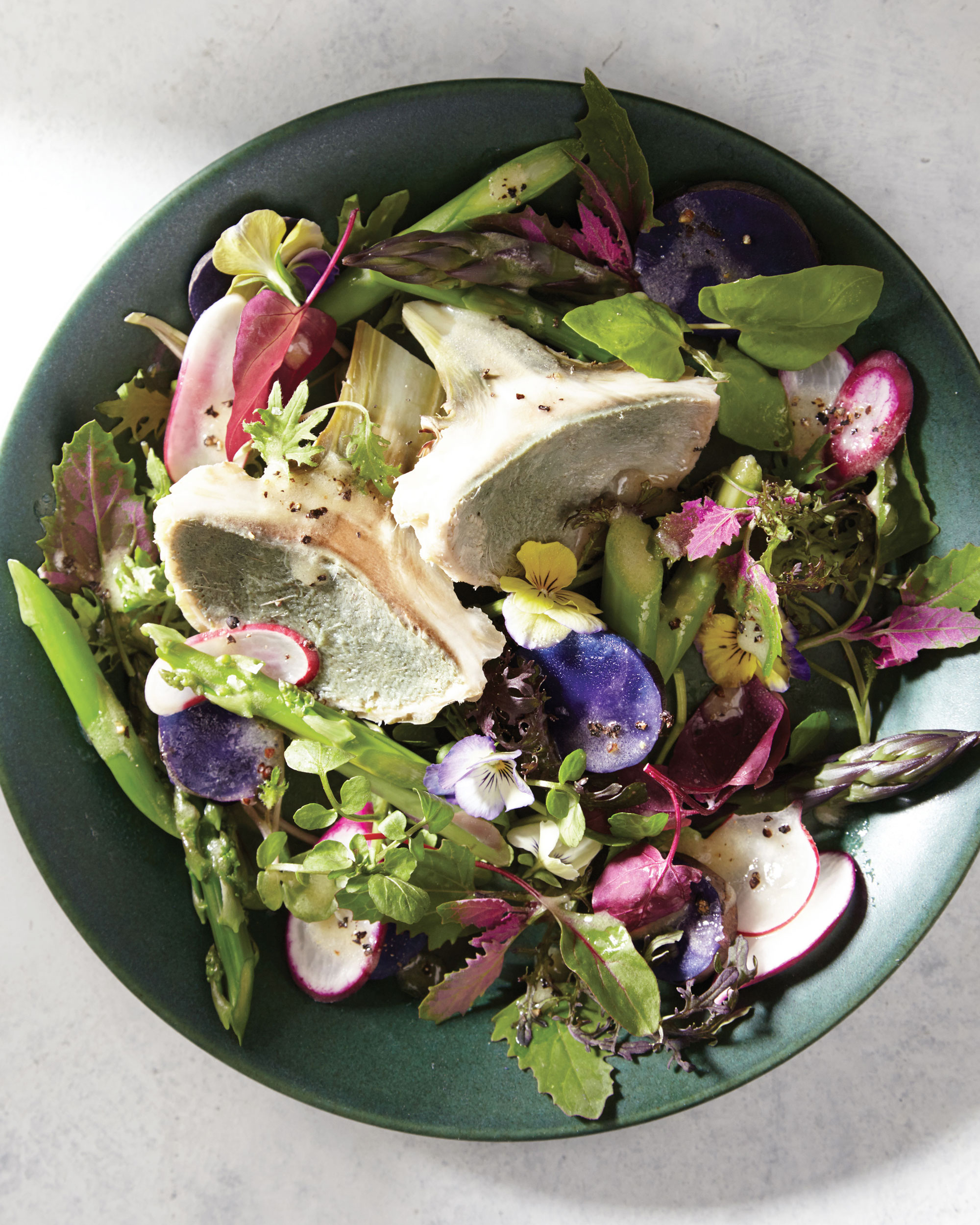 Steamed-Artichoke and Asparagus Salad