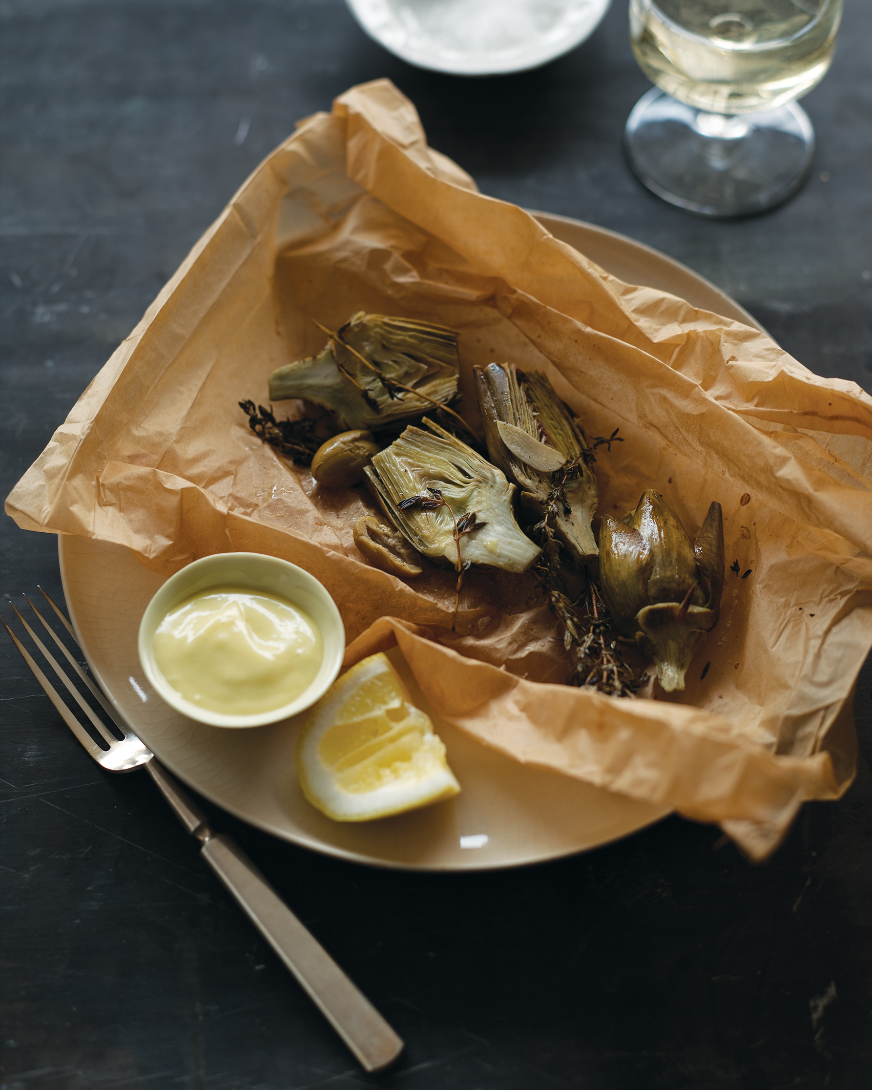 Baby Artichokes with Olives en Papillote