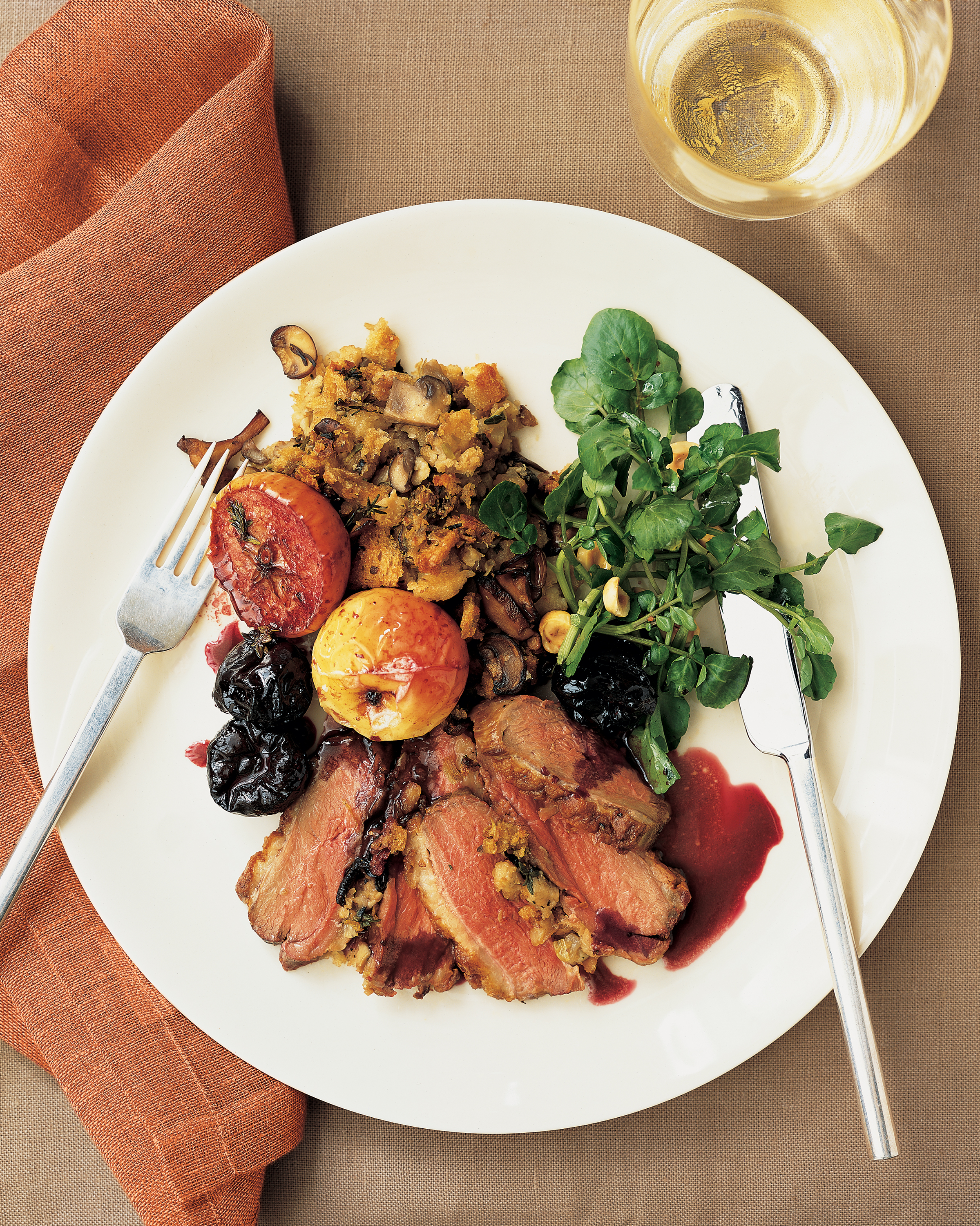 Roasted Duck Breasts with Wild Mushroom Stuffing and Red Wine Sauce