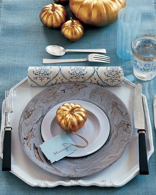 Mini Spray-Painted Gold Table Pumpkins