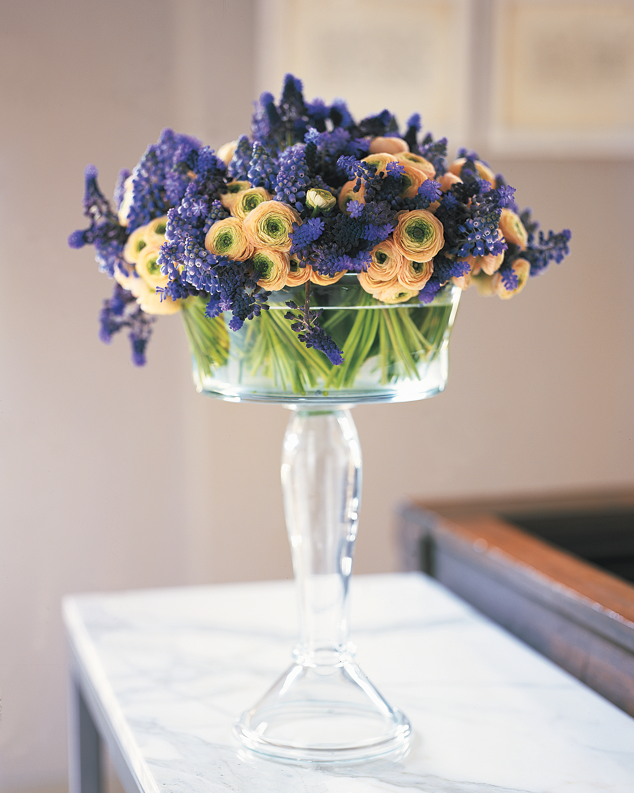 Garden Flowers in a Glass Compote
