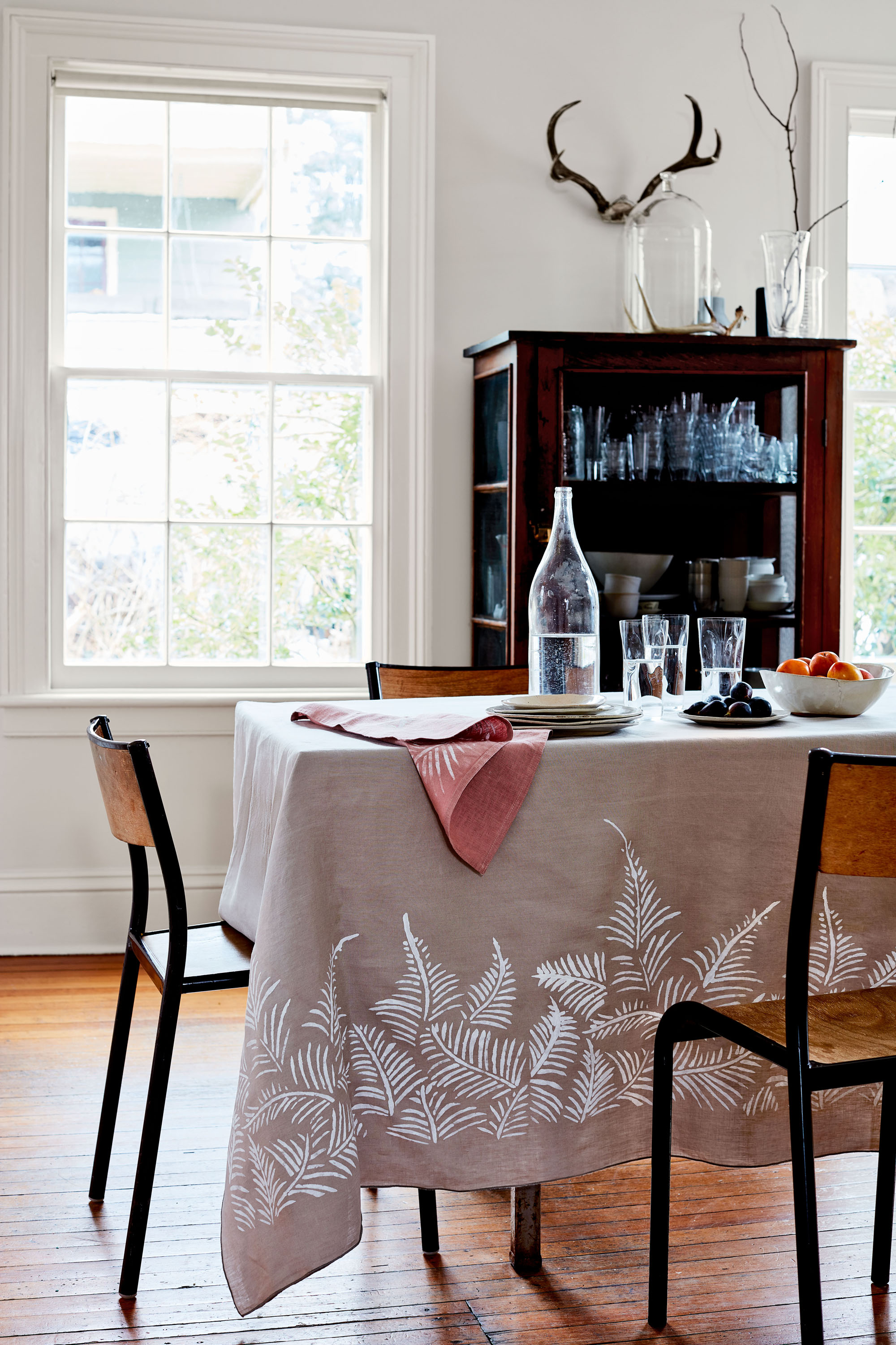 stenciled napkin and tablecloth botanical