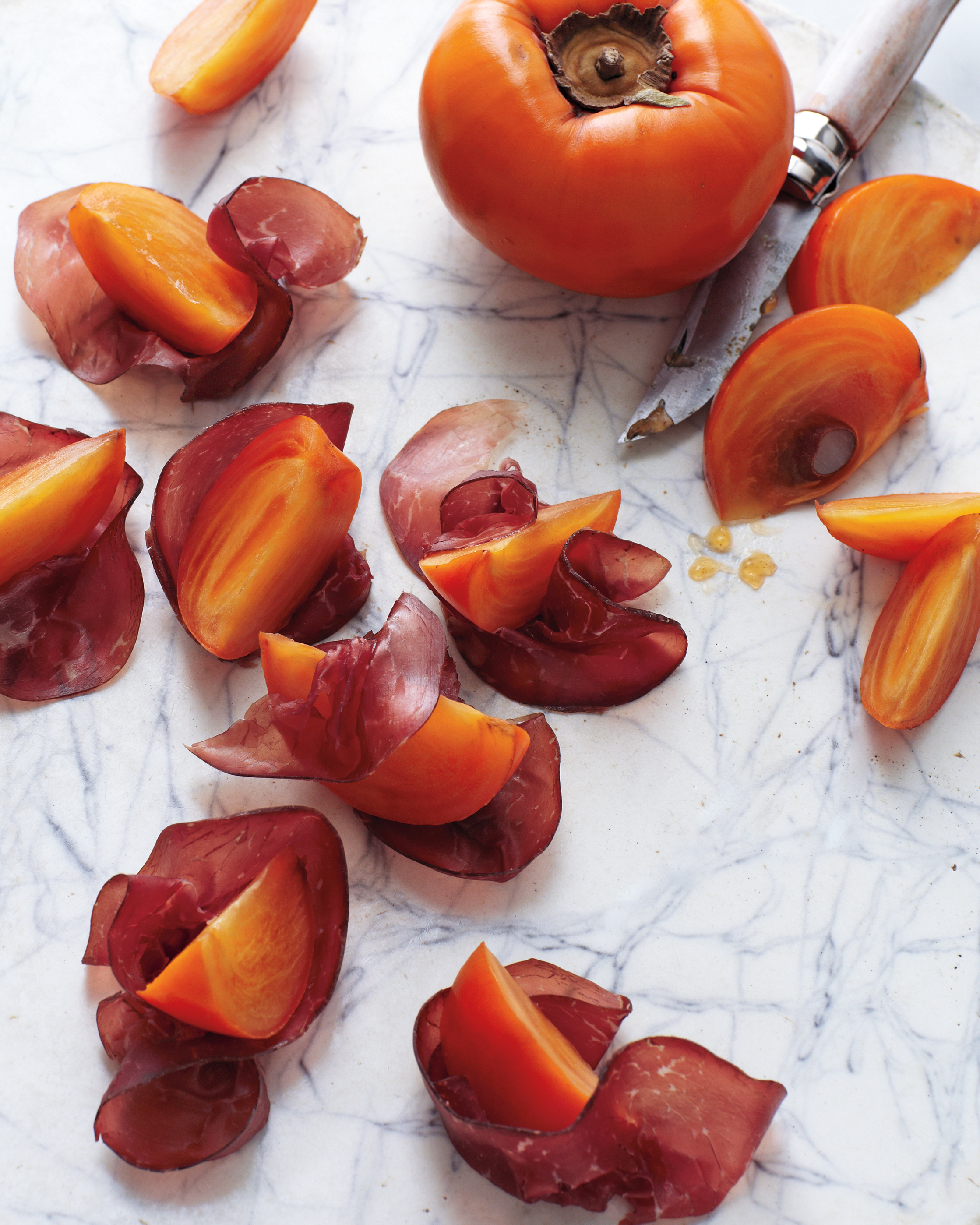 Persimmon and Bresaola Bites