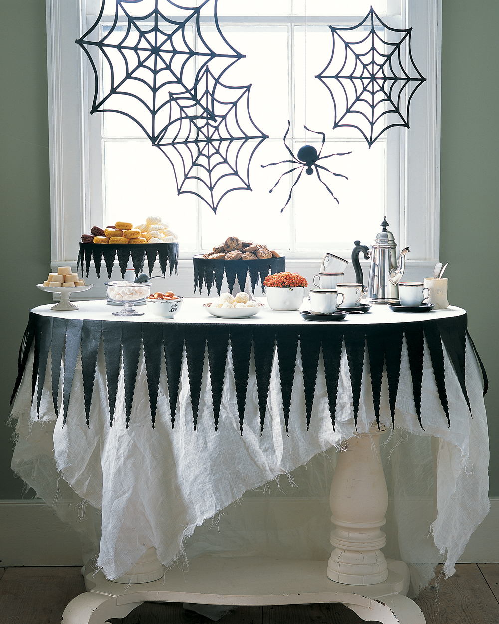 Halloween Tablecloth with Crafted Spider Decorations
