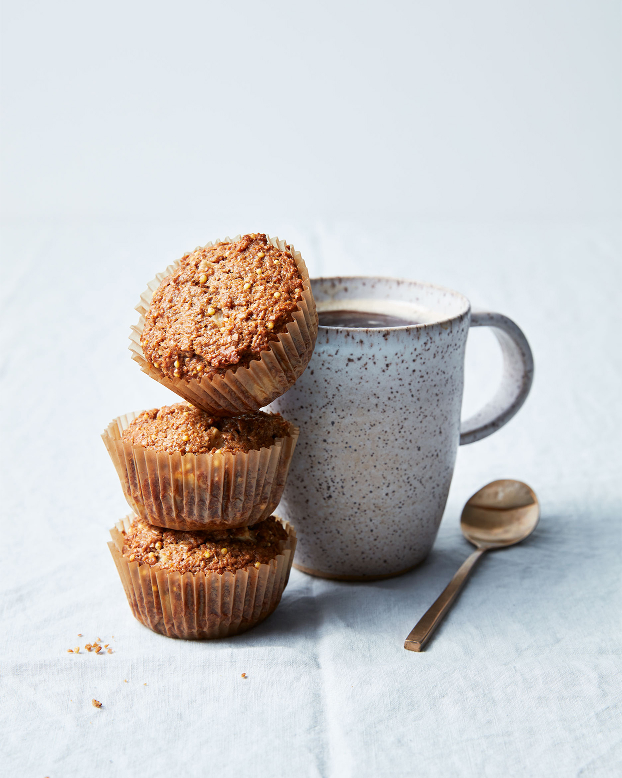 apple bran muffins with coffee