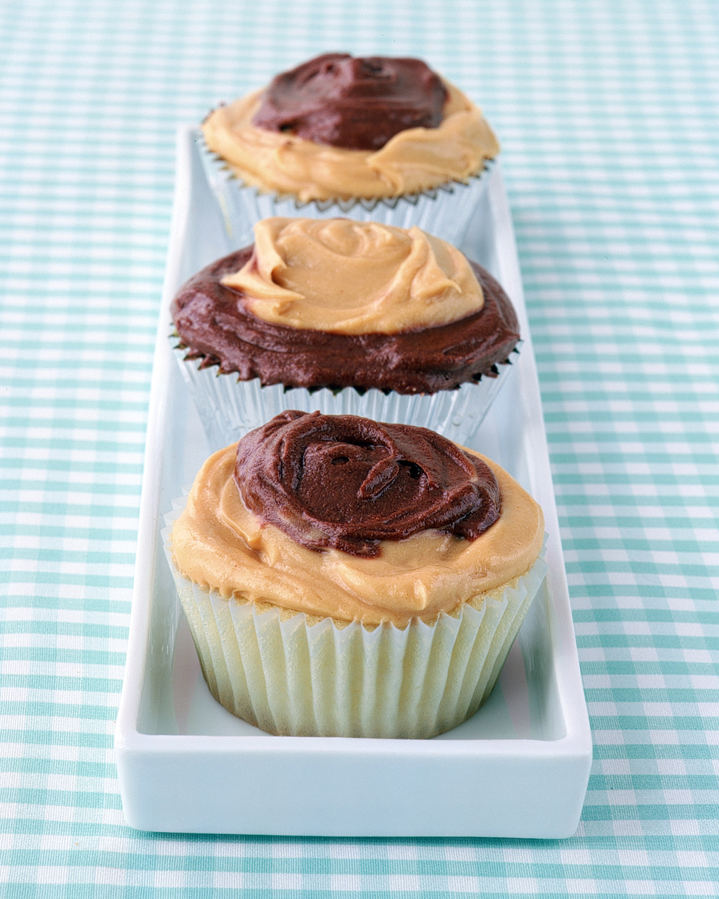 Peanut-Butter-and-Chocolate-Frosted Cupcakes