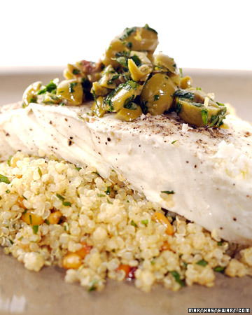 Steamed Halibut with Lemon-Olive Quinoa Salad