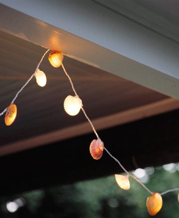 shell lights hanging from ceiling