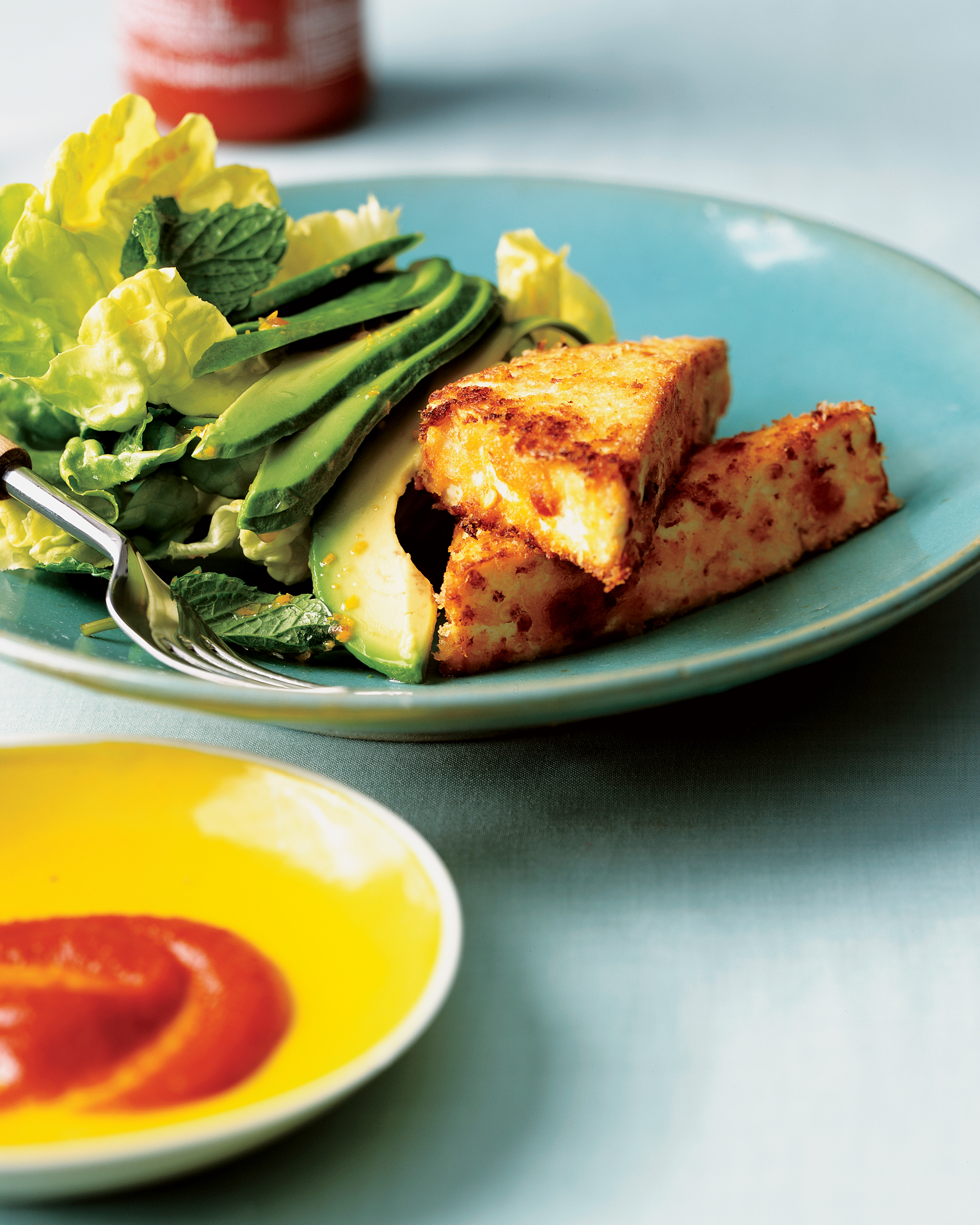 Spicy, Crisp Tofu on Mint-Avocado Salad
