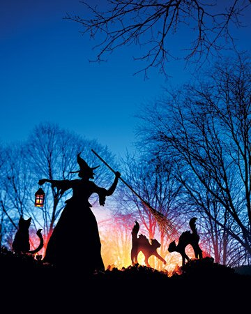 Witch and Cat Lawn Ornaments