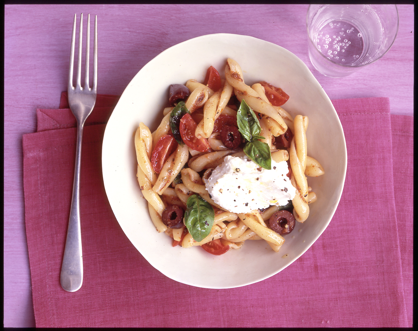 Gemelli with Tomatoes, Olives, and Ricotta
