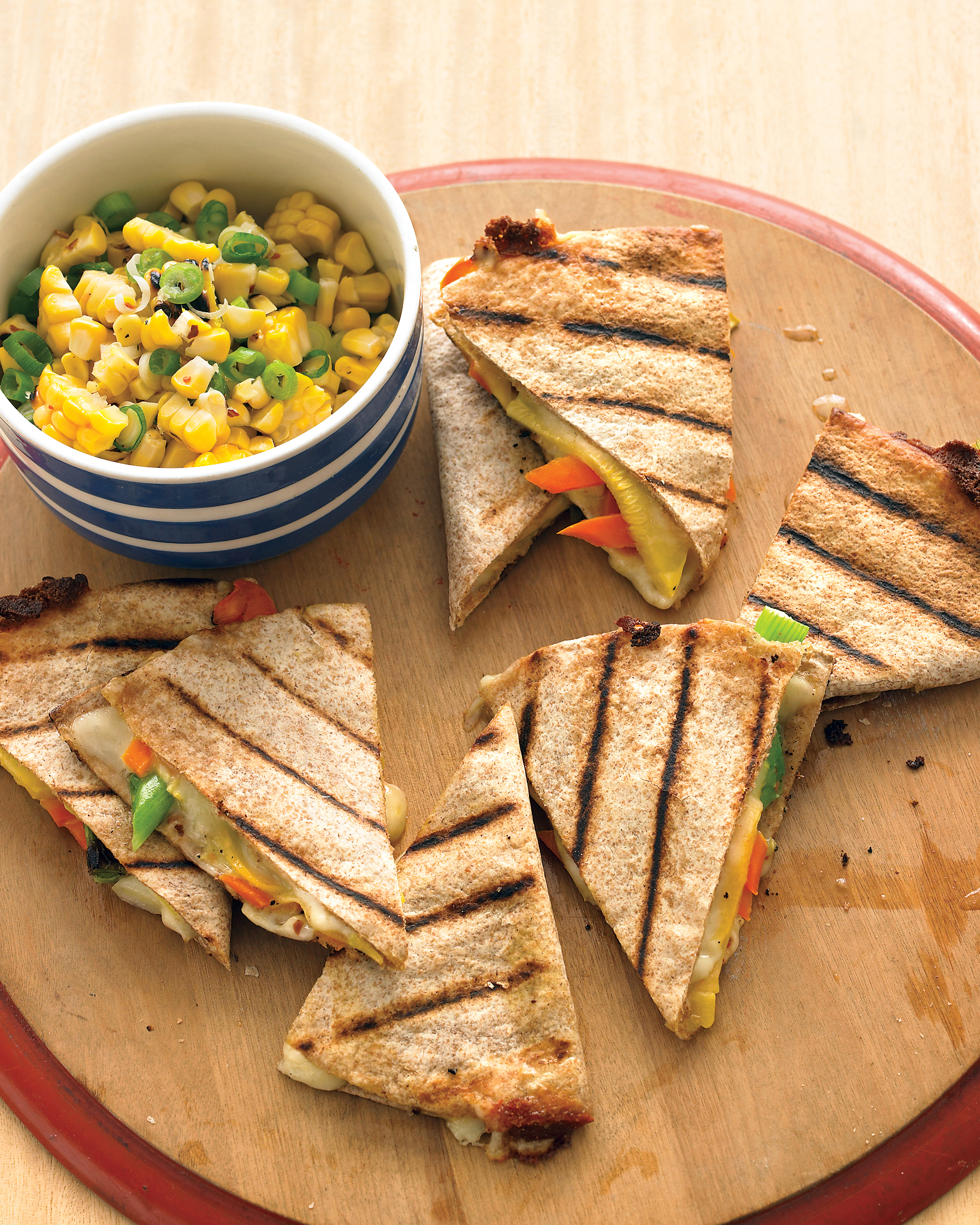 Fresh Vegetable Quesadillas with Corn Relish