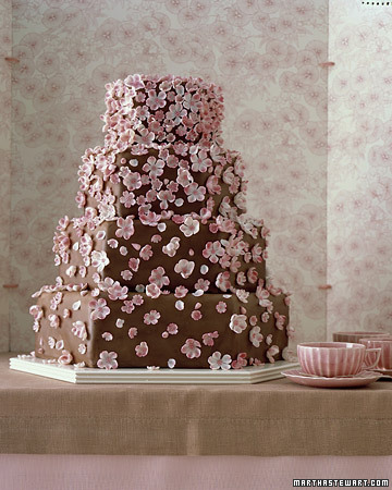 Tiered Cake with Edible Blossoms