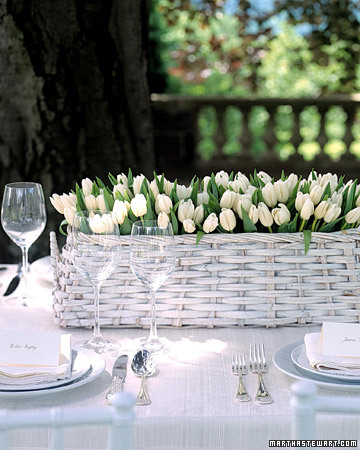 Centerpiece with Pure-White Tulips