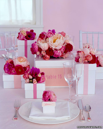 Pink Flower Box Centerpieces
