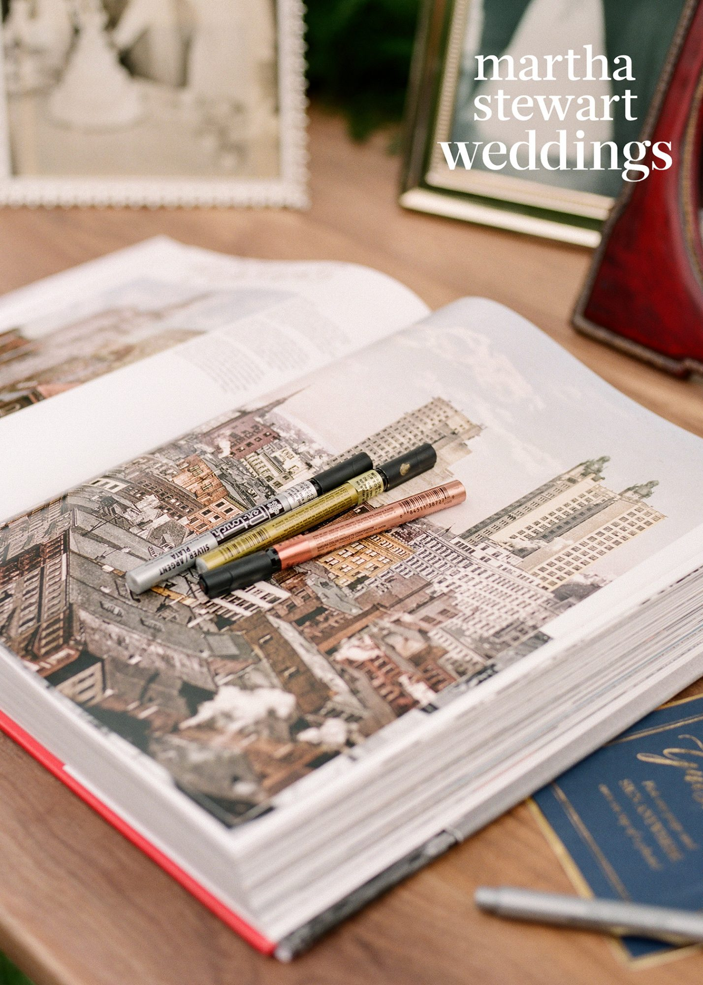 At actress Abby Elliott's wedding to her husband, Bill Kennedy, attendees wrote greetings in a book about New York City.