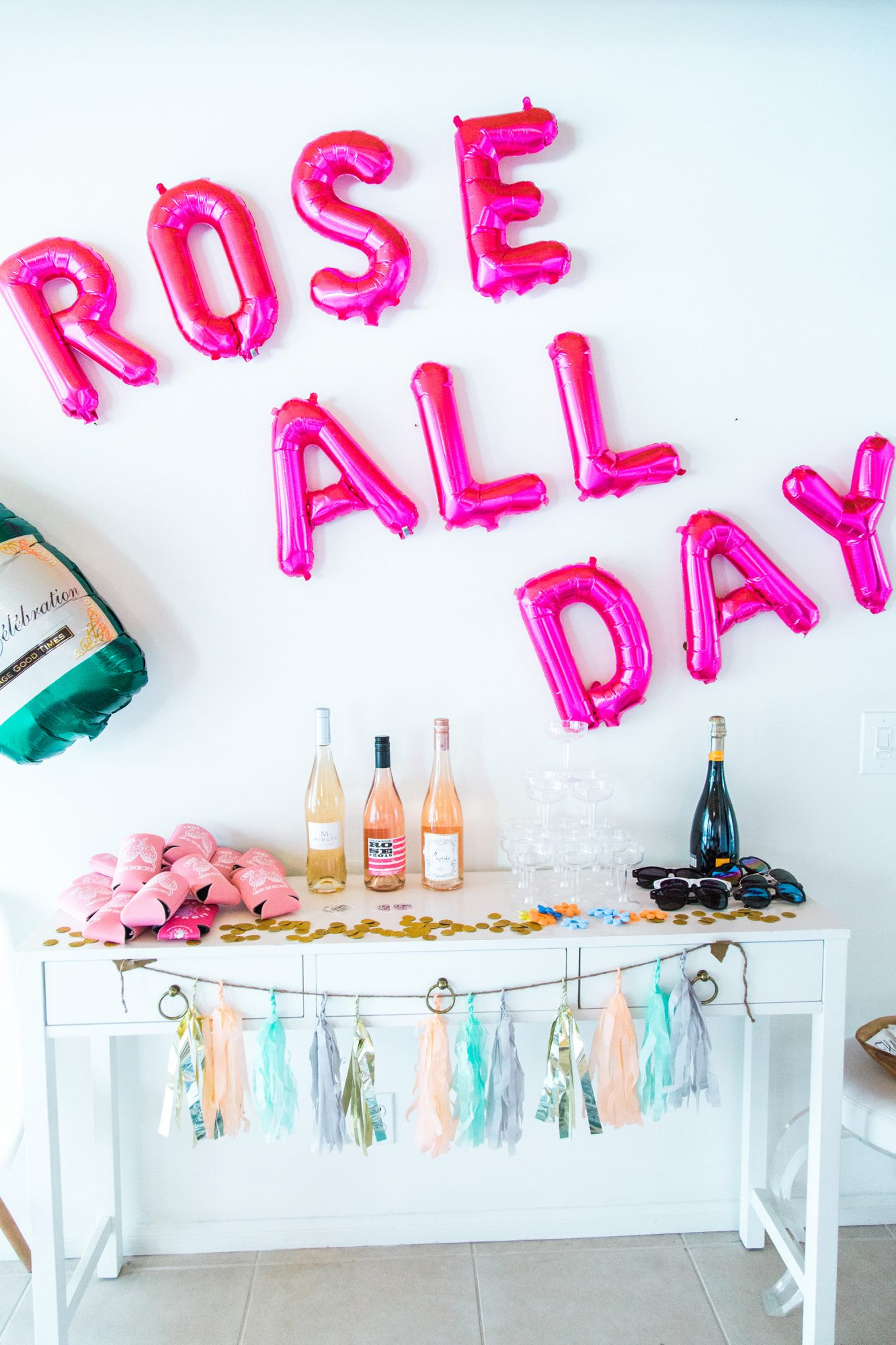 bridal shower bar with rose all day balloons