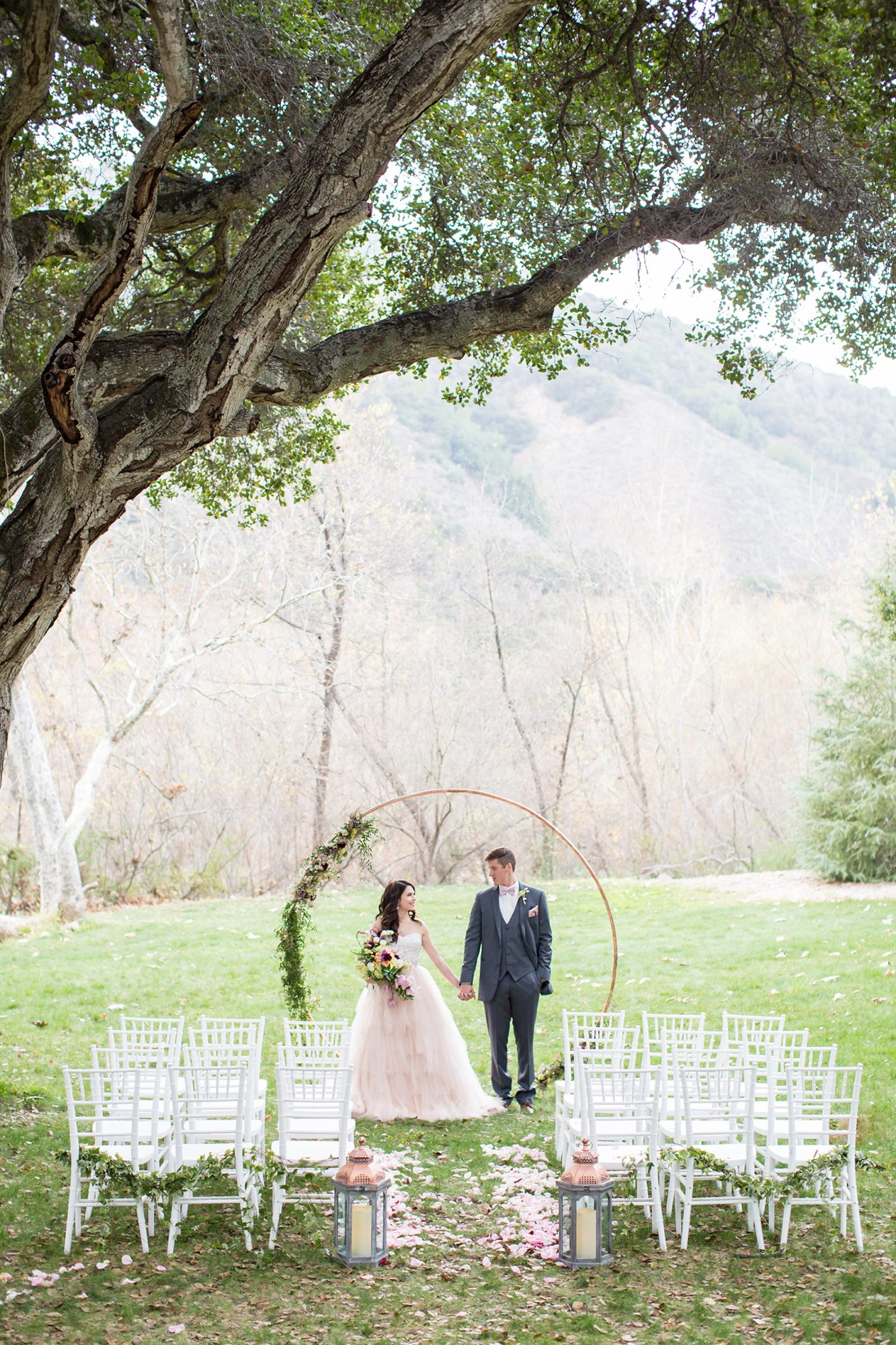 ceremony aisle with circular arch