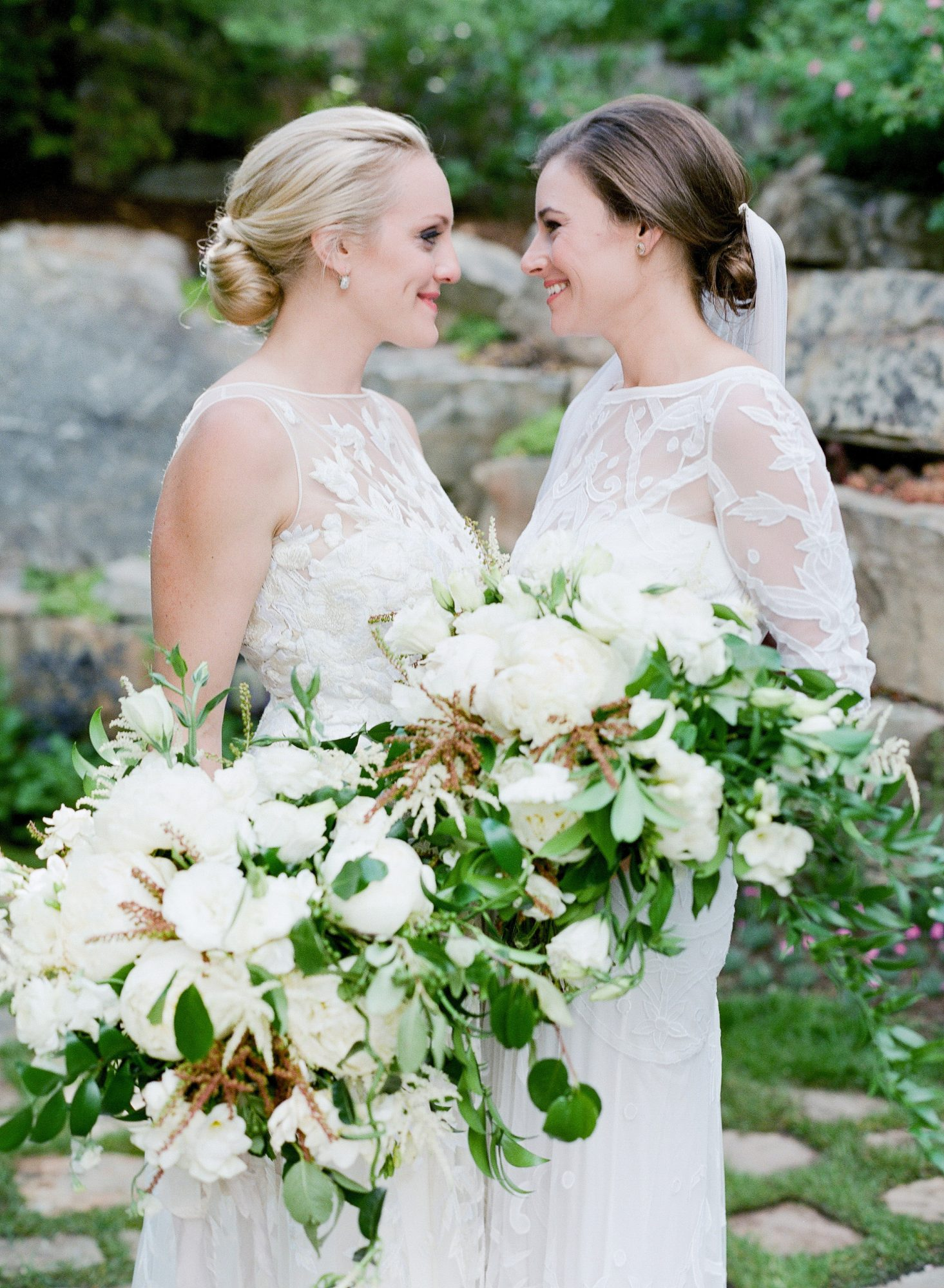 brides and white bouquets