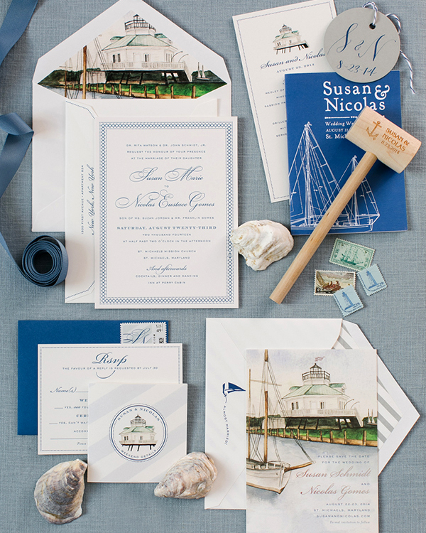 A nautical wedding stationery suite is perfect for a number of different couples. Whether you and your future husband or wife are boaters, sailors, beach bums, or simply obsessed with the open water, an ocean-inspired big-day invite is likely right for you and your celebration. If you fall into any of these camps, you'll be glad to know that we compiled invitation inspiration courtesy couples who masterfully foreshadowed their beachfront, seaside, or maritime venues with stationery done in coastal color schemes or decorated with marine motifs. After all, if you're lucky enough to tie the knot by the ocean, a lake, or any other body of water, that's something to celebrate.                                       If you're hoping to take a subtle approach to the theme, simply stick with a blue-and-white color palette, which will convey the fact that you'll be by water's edge when you tie the knot. If you've always dreamed of classic invitations, there are still subtle ways to upgrade an all-white card to sit the vibe. Use stripes on the back of your invite or as on your envelope liners for a subtle pop.                                       Other motifs to include on nautical invites include ropes, knots, anchors, boats, code flags, light houses, captain's wheels, and compasses. Empress Stationery wove several of those ideas into the stationery for this beachfront bash, but even just one on its own gets the message (and the setting) across. Destination-specific details, like a location map or an outline of the island where everyone will gather for your nuptials, work well, too. To really drive the idea home, consider having your stationery done in watercolor, which really drives the idea home.                                       We've rounded up over two dozen nautical invitations to inspire your own wedding stationery. Continue on for inspiration for all the thematic inspiration you could ever need.