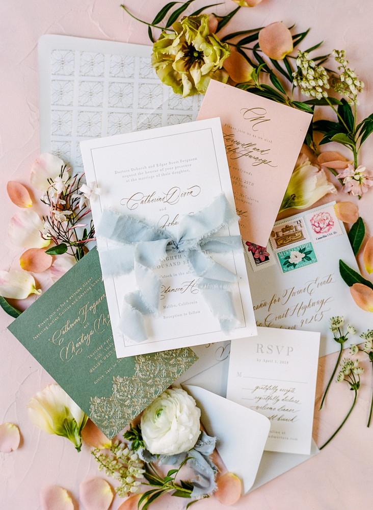 invitation suite with ribbon