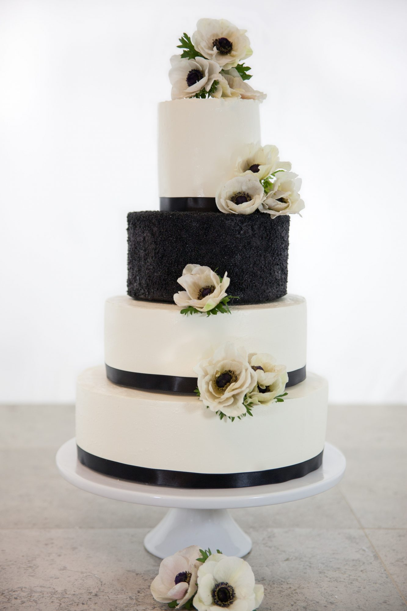 black and white four tiered wedding cake