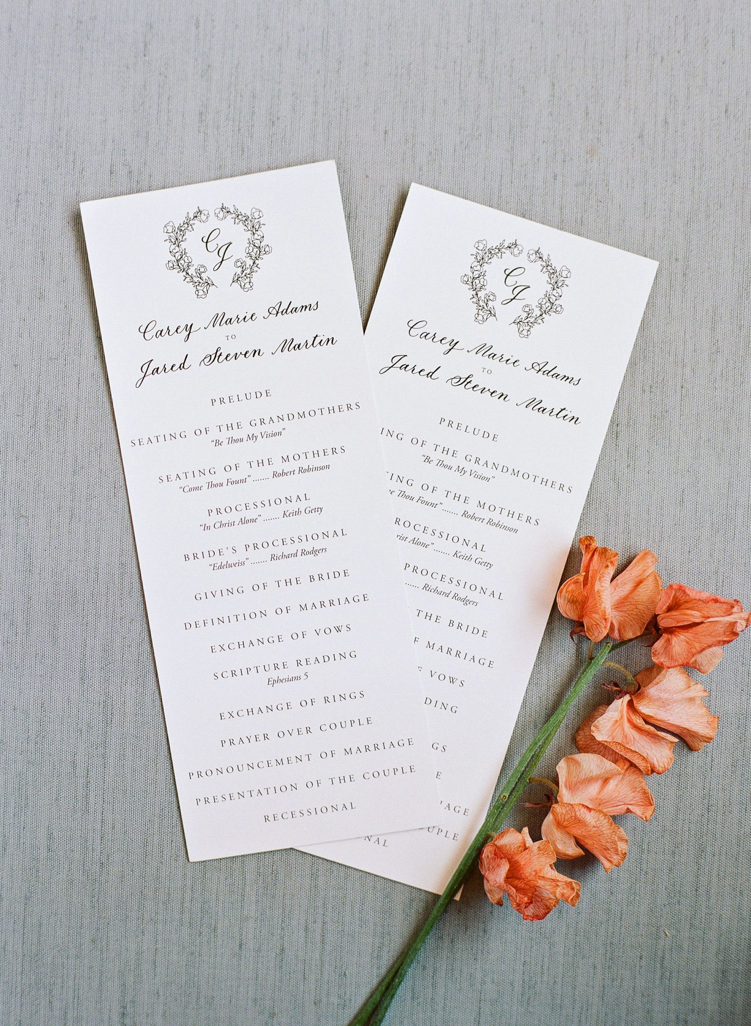 carey jared wedding programs