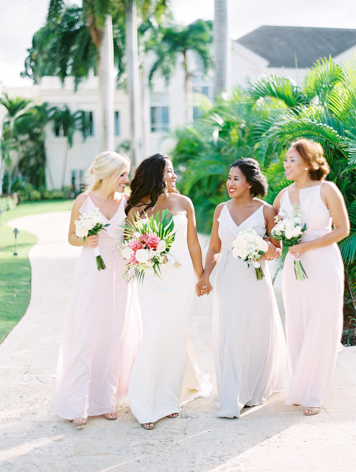 bride and bridesmaids walking