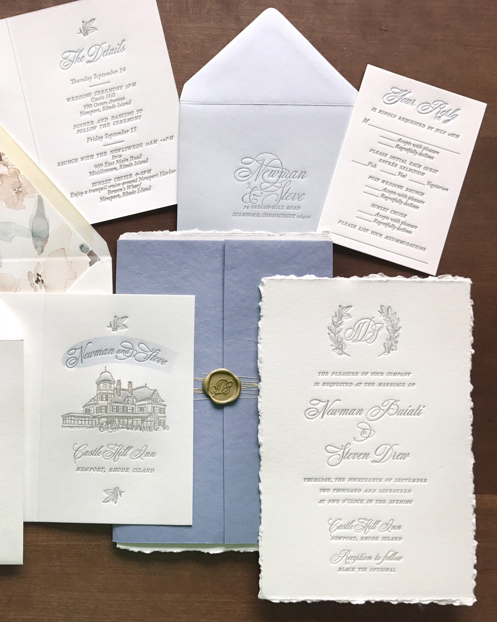 classic invitation letterpress print tied with gold string and wax seal