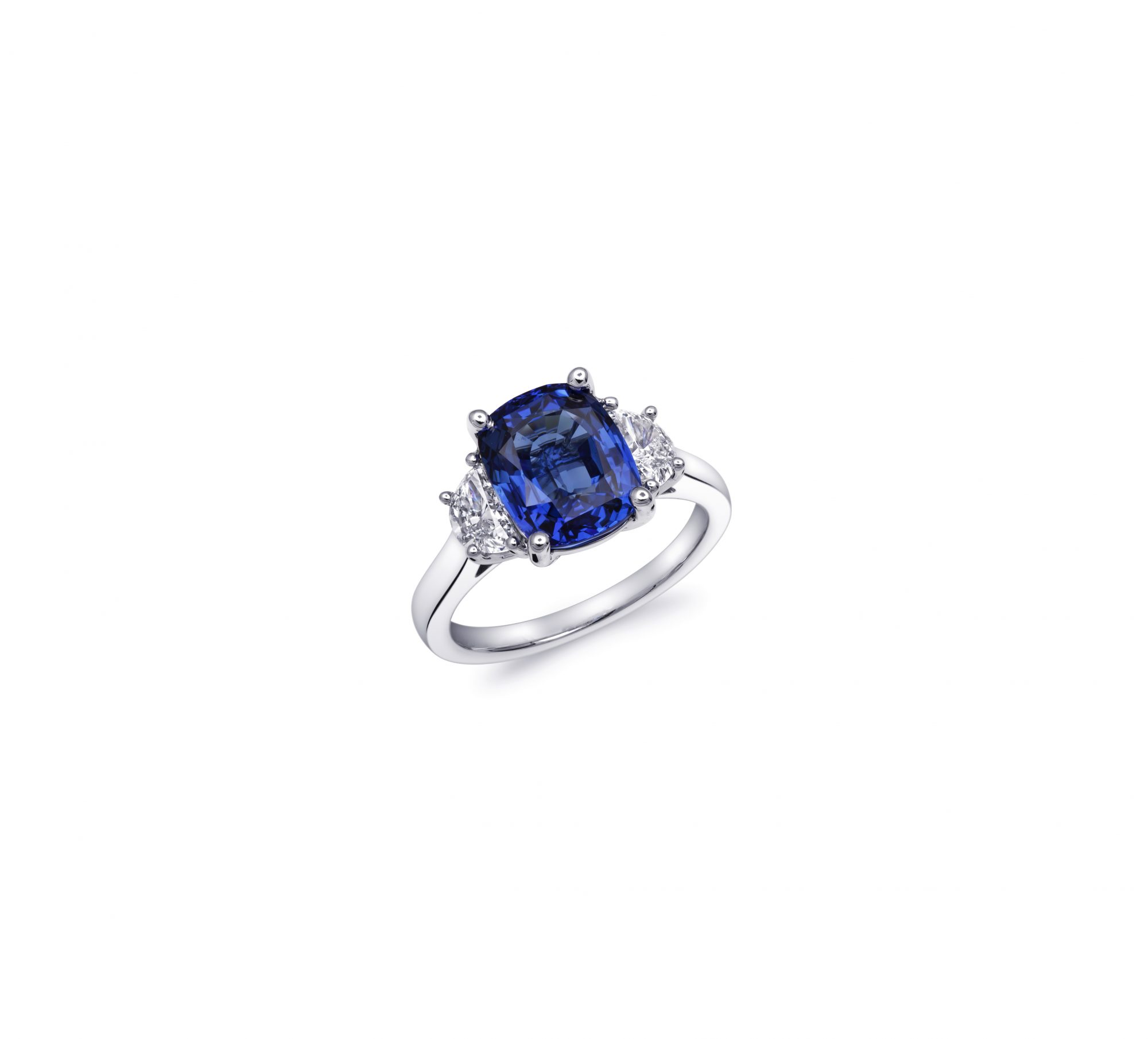 coast diamond cushion cut sapphire moon cut diamond engagement ring