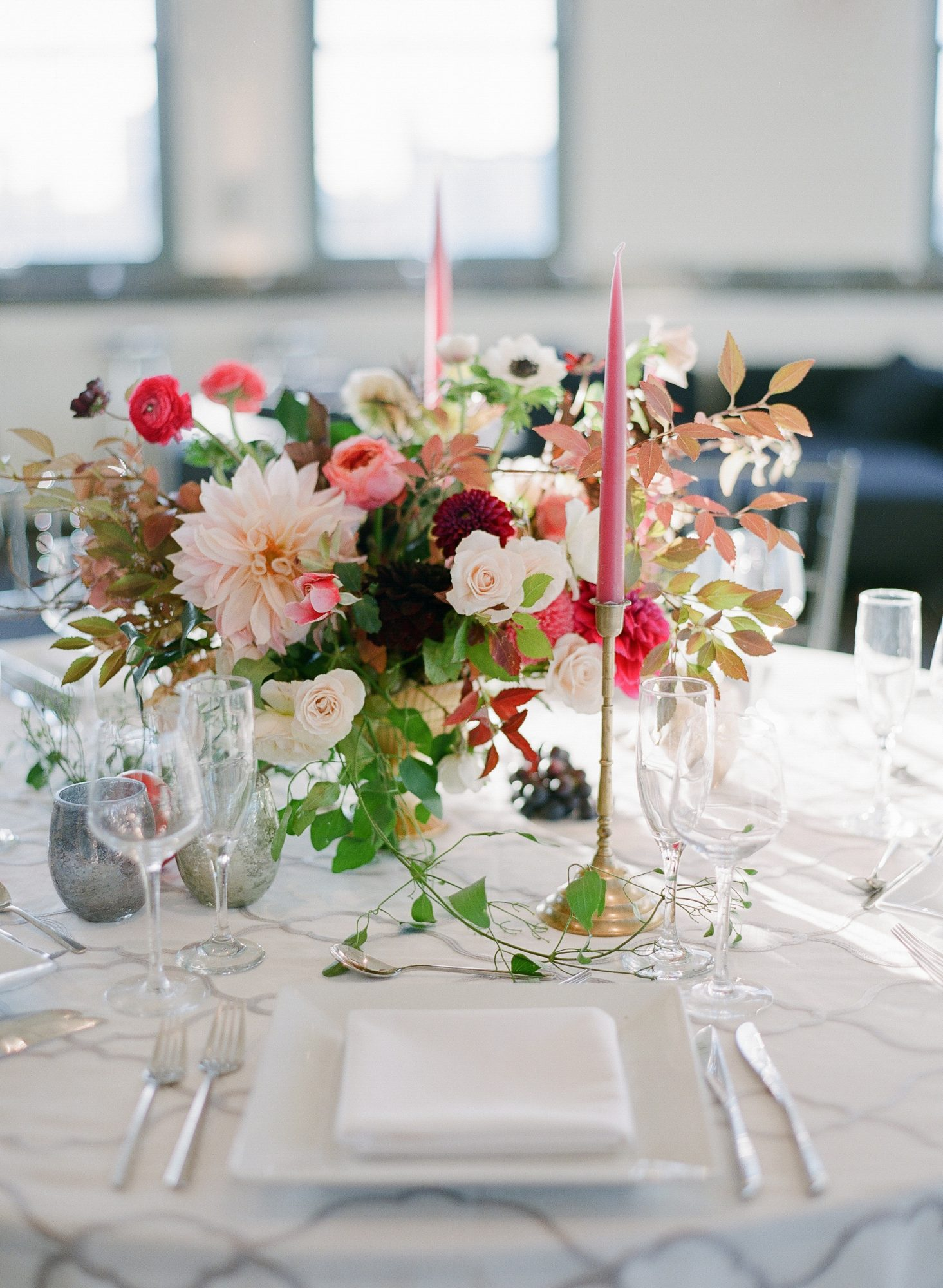 dahlia wedding centerpieces pink assortment with roses