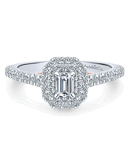 emerald cut ring white rose gold double halo band