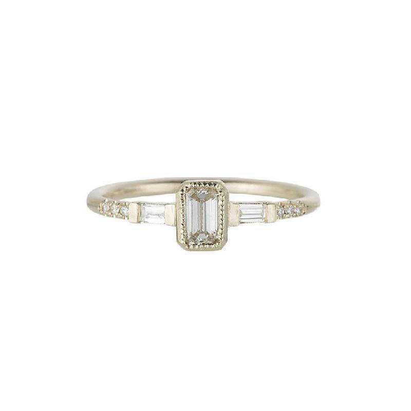 emerald cut ring gold band with baguette diamonds