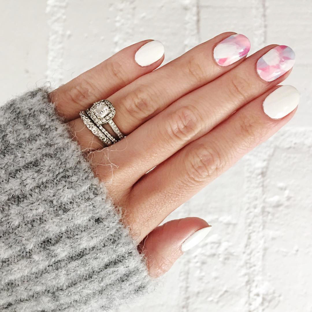 engagement ring selfie watercolor patterned manicure