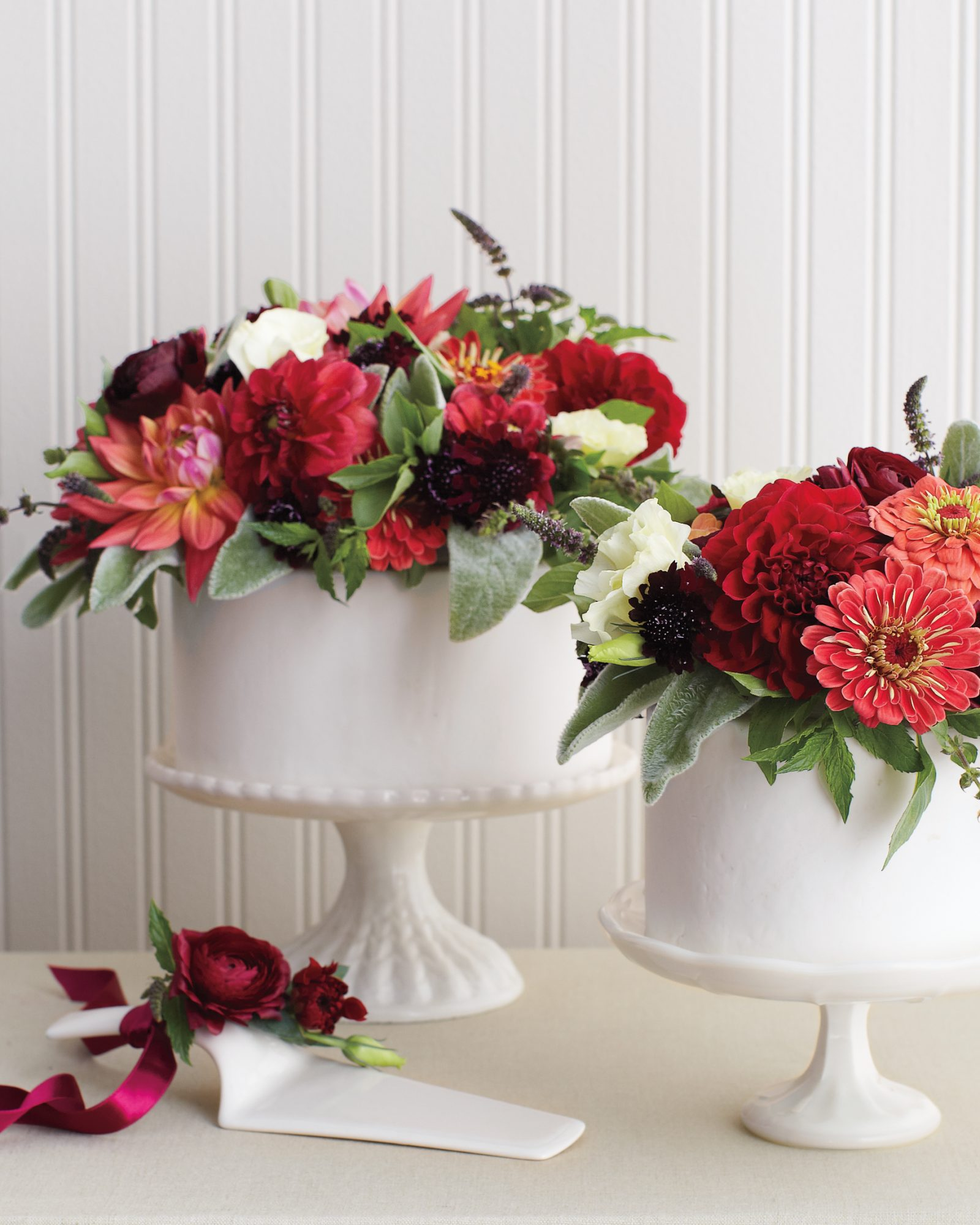 Floral Bouquet-Topped Wedding Cake