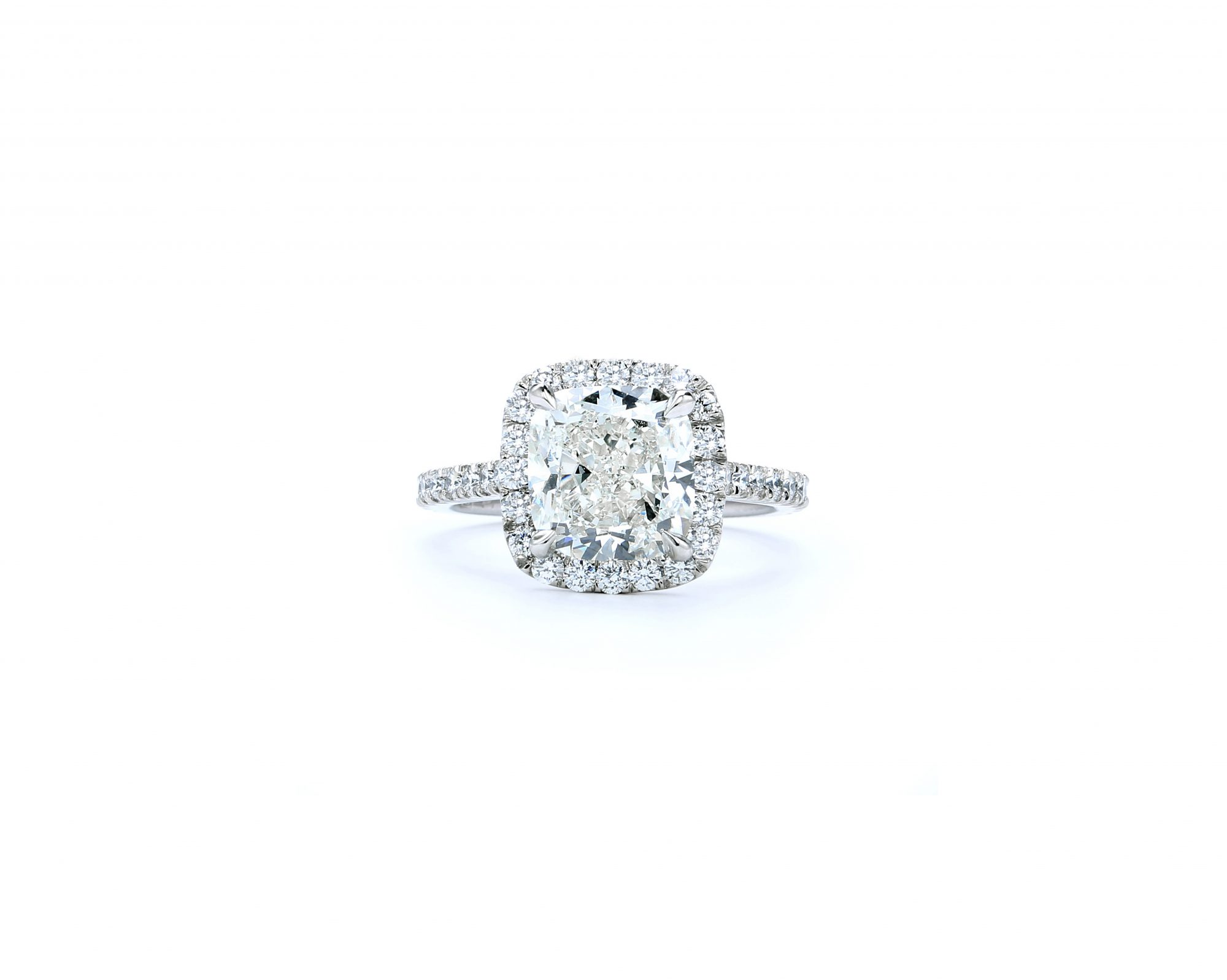 forevermark premier gem cushion cut engagement ring in white gold