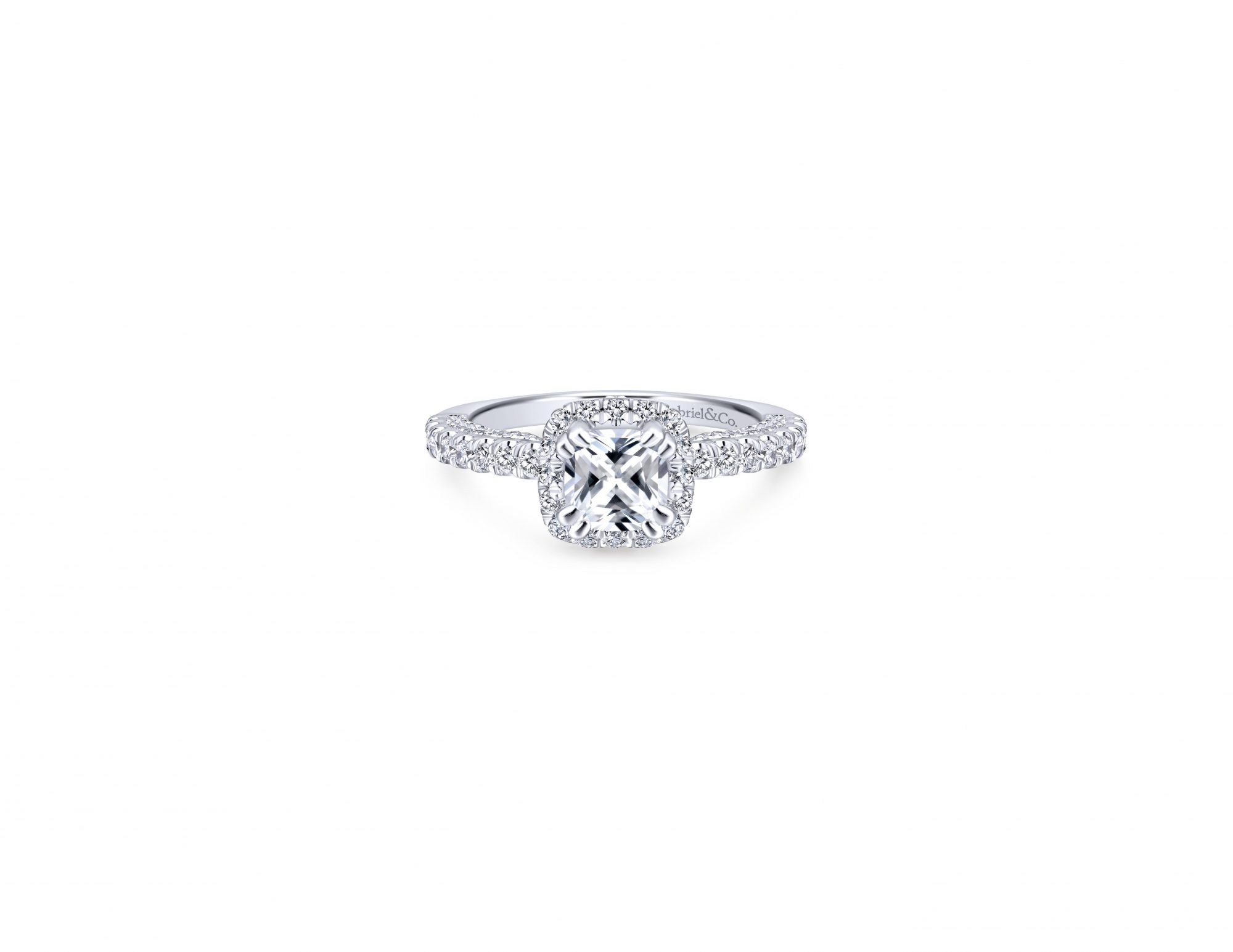 gabriel cushion cut diamond engagement ring with halo white gold