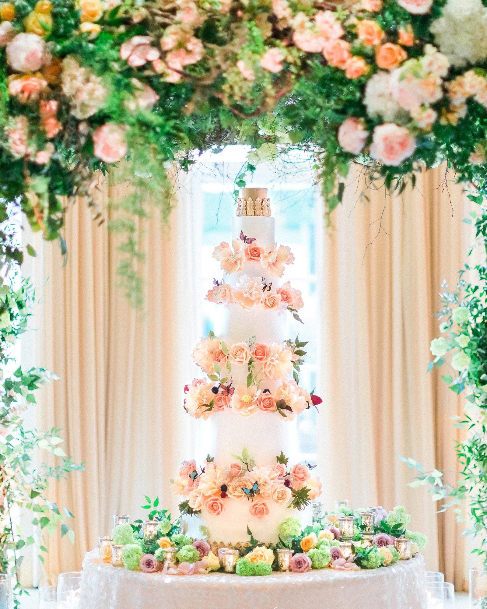 glamorous wedding ideas tall confection cake