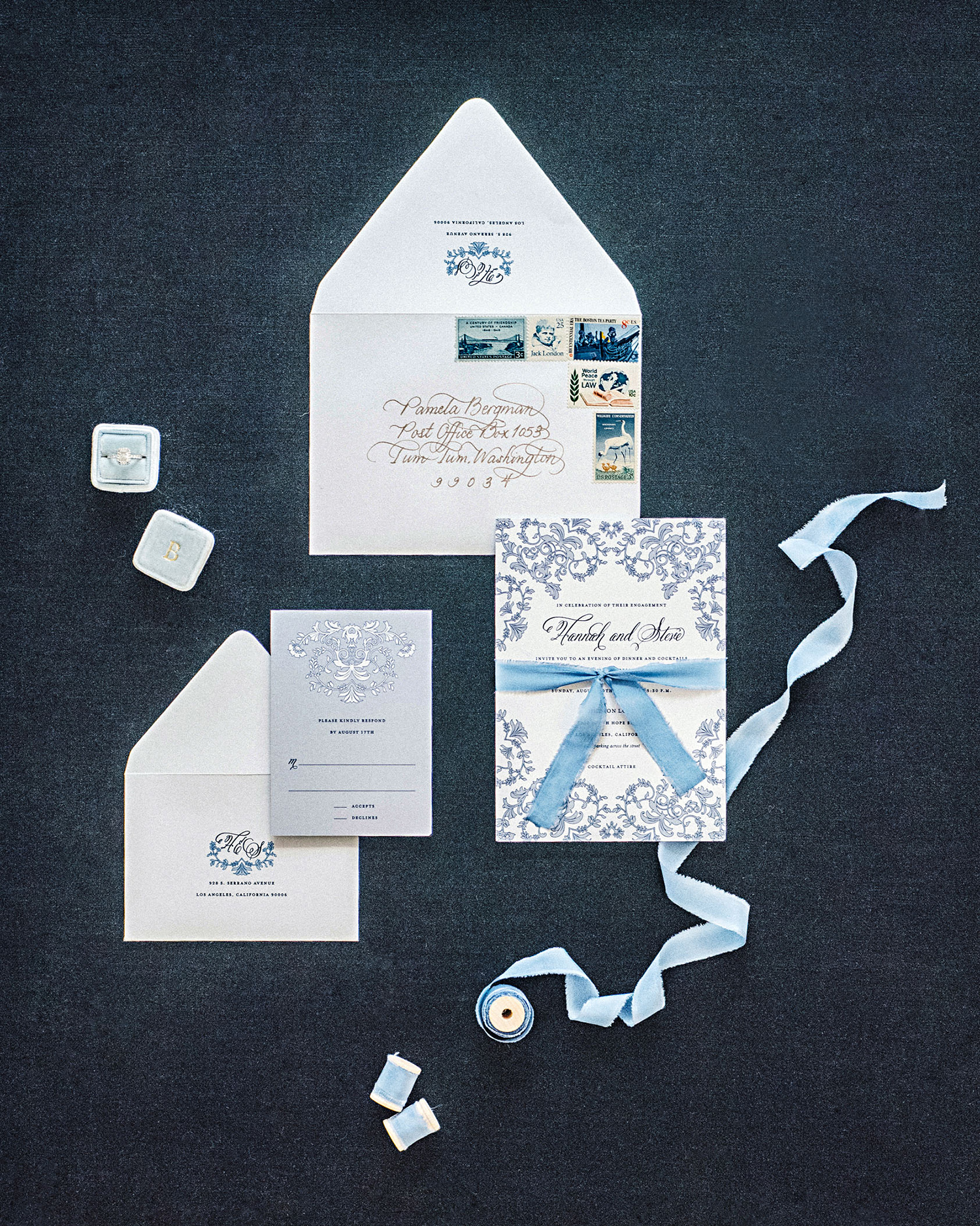 hannah steve wedding california stationery suite