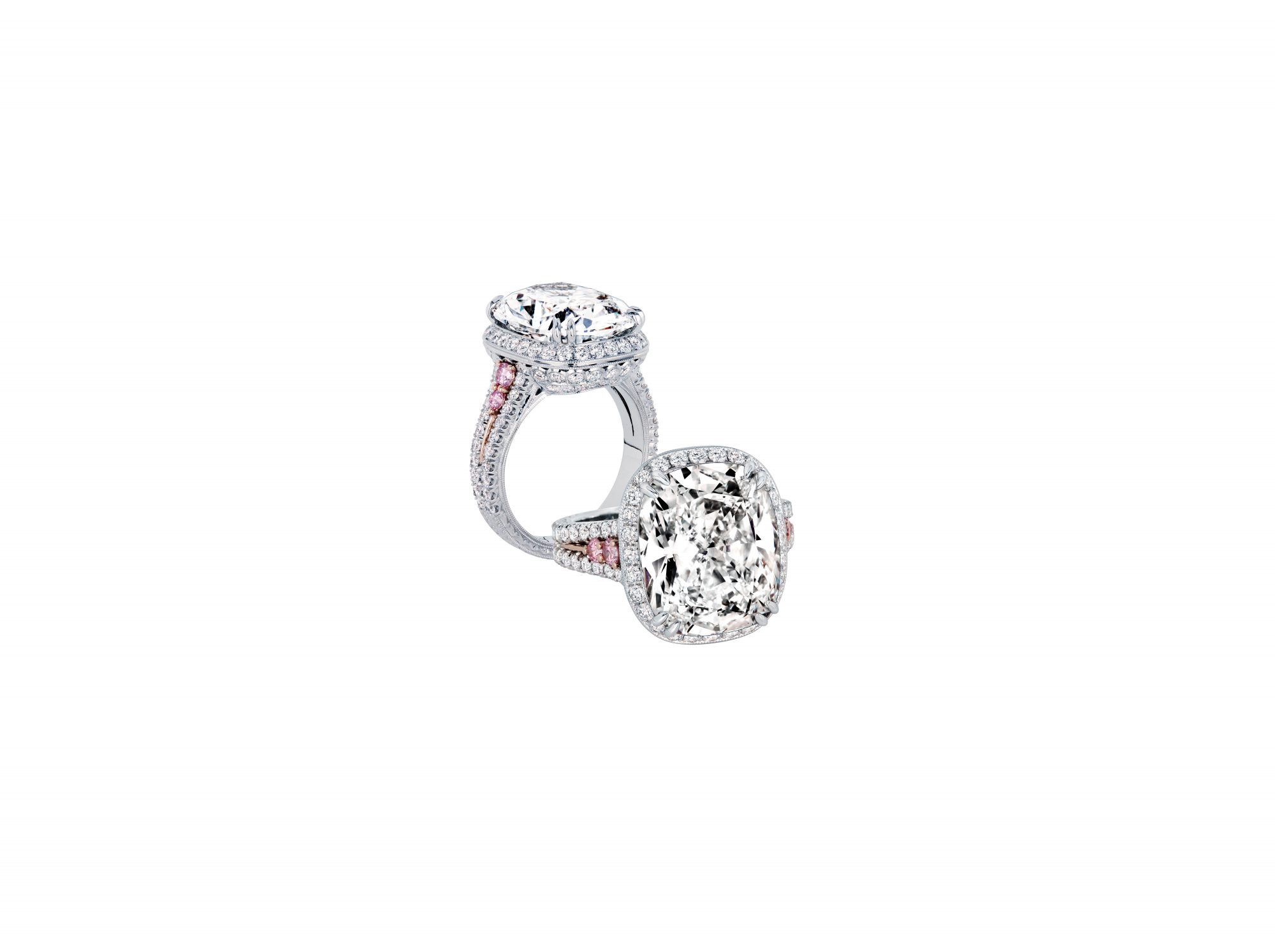 jack kelege cushion cut engagement ring pink diamonds in shank