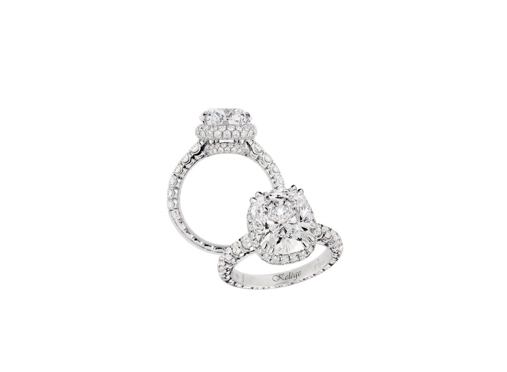 jack kelege cushion cut engagement ring with round stones