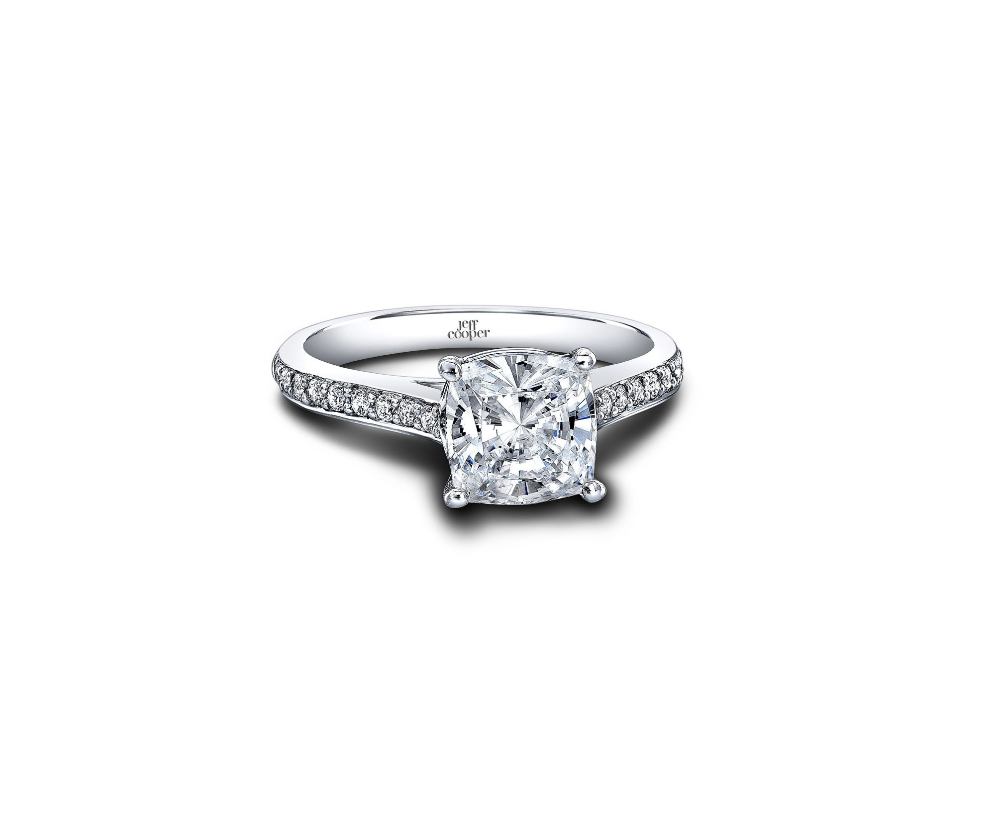 jeff cooper cushion cut diamond shank engagement ring