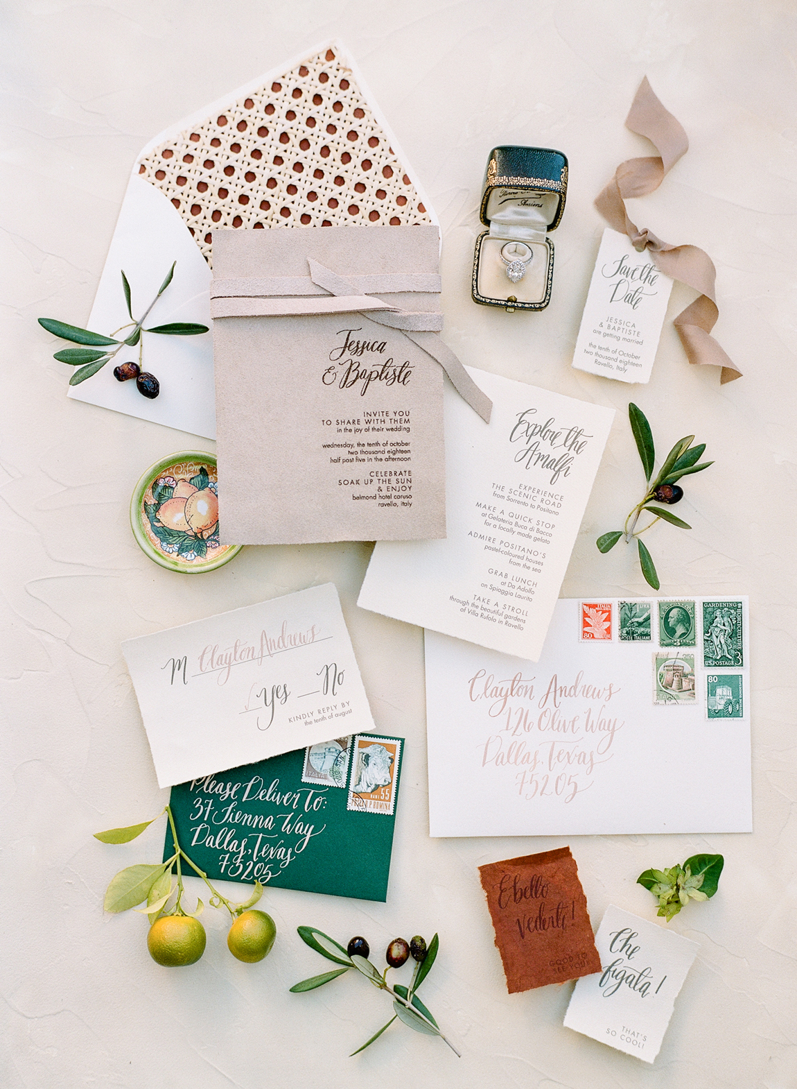 suede wedding invitation suit