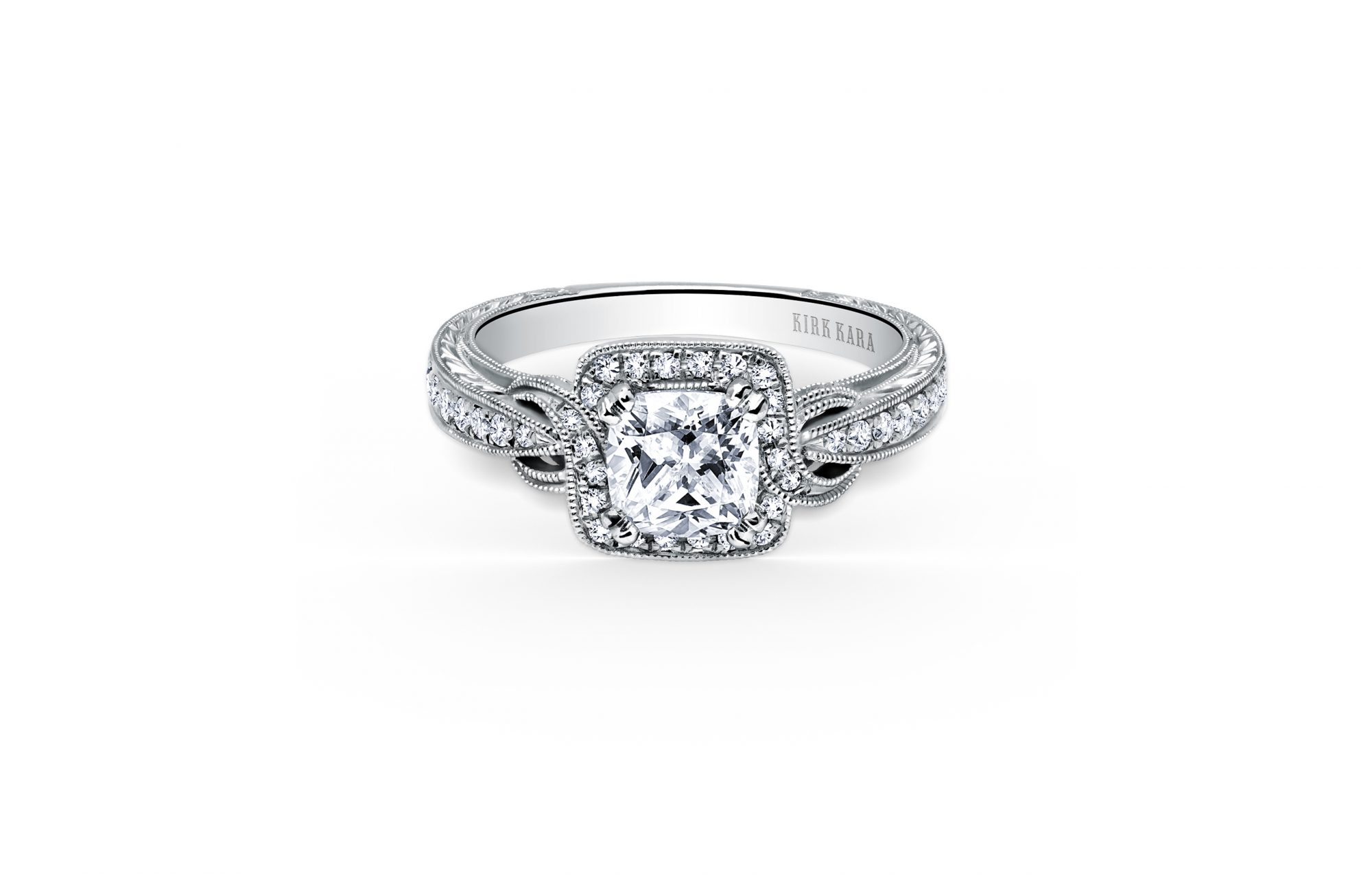 kirk kara cushion cut diamond engagement ring pirouette style
