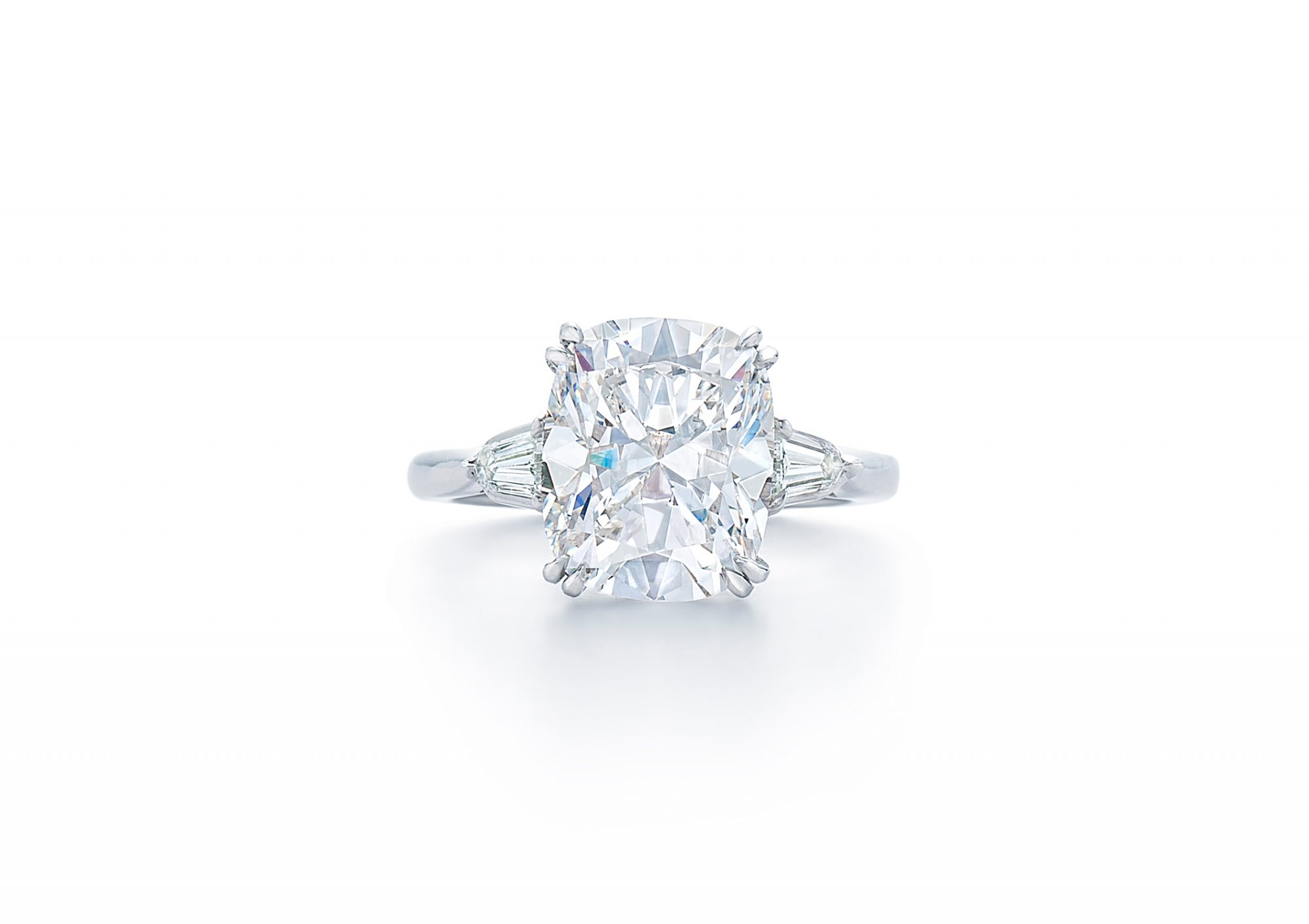 kwiat cushion cut diamond baguette diamonds on side engagement ring