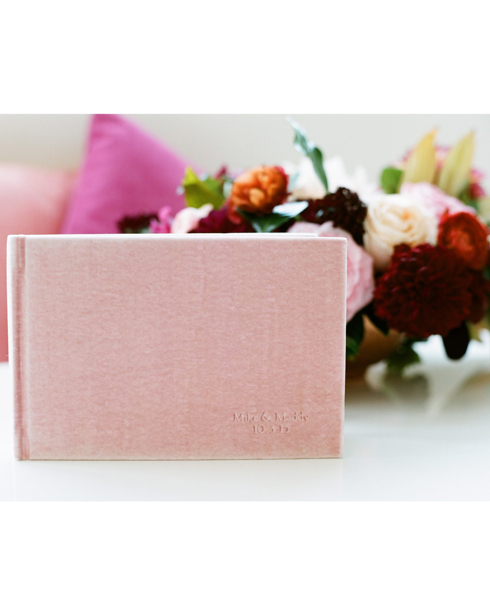 This soft, pink guest book went with the rest of the wedding's palette.