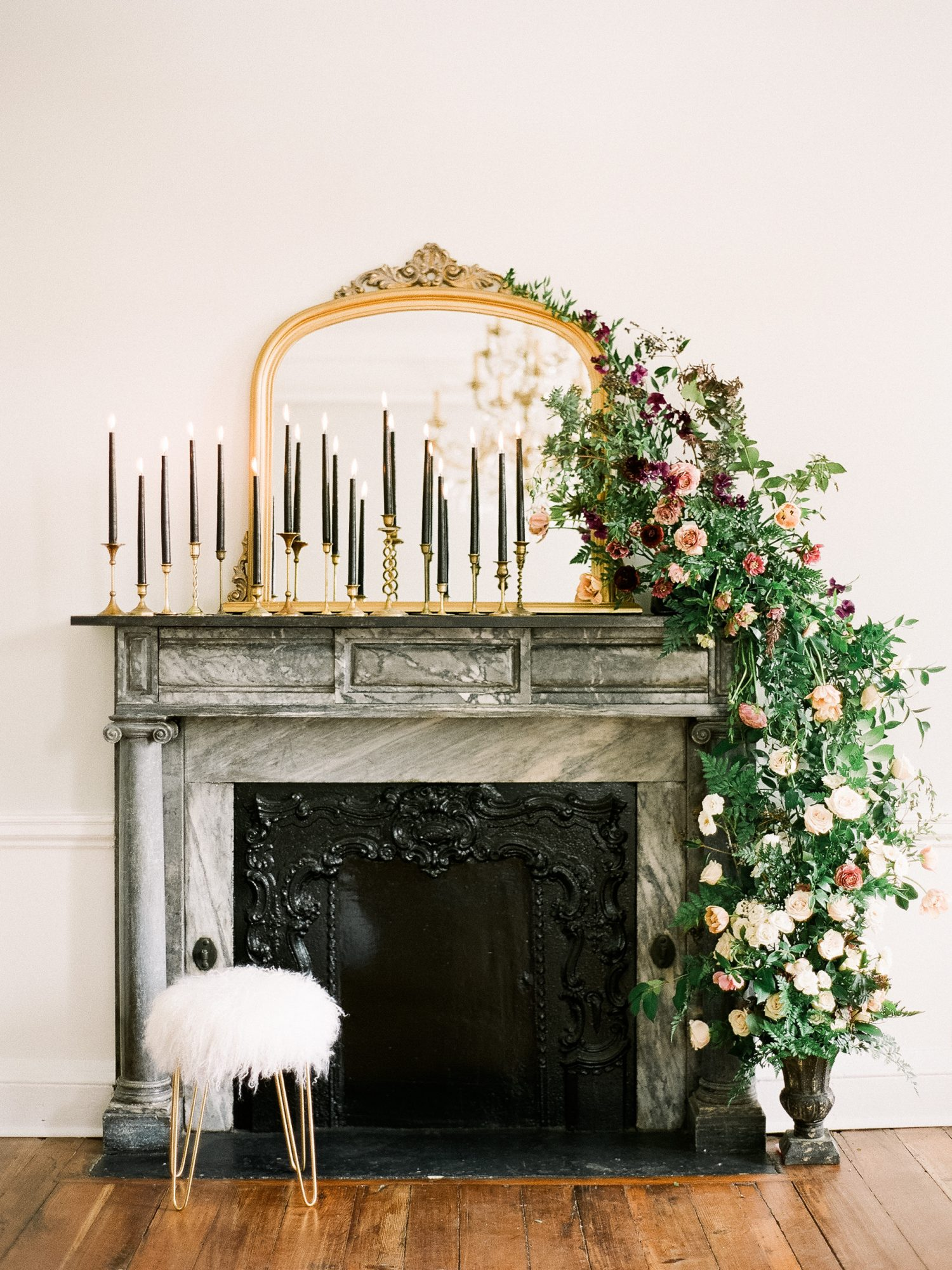 decorated mantel
